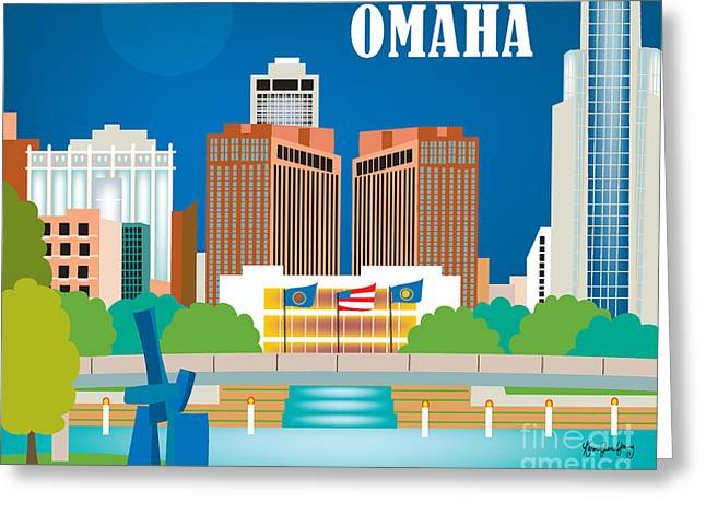Omaha Greeting Cards - Omaha Nebraska Skyline Art Style O-OMA Greeting Card by Karen Young