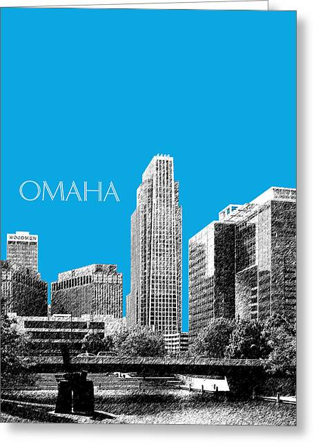 Omaha Greeting Cards - Omaha Skyline - Ice Blue Greeting Card by DB Artist