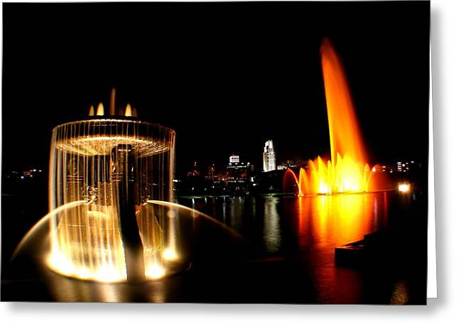 Omaha Nebraska Greeting Cards - Omaha skyline at night Greeting Card by Jetson Nguyen