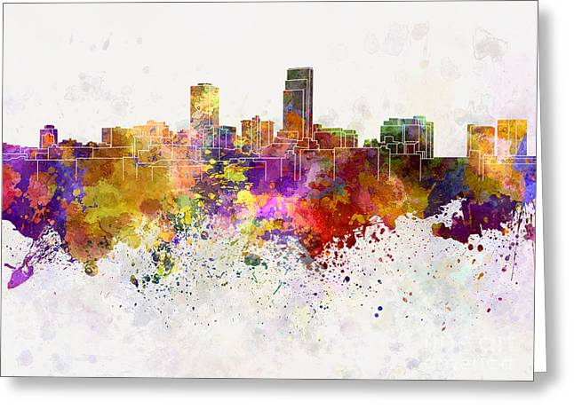 Omaha Greeting Cards - Omaha skyline in watercolor background Greeting Card by Pablo Romero