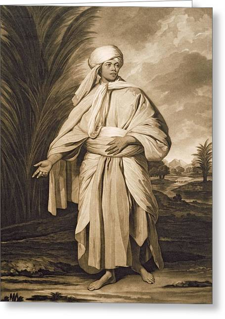 Full-length Portrait Greeting Cards - Omai, Engraved By John Jacobe, 1777 Mezzotint Greeting Card by Sir Joshua Reynolds