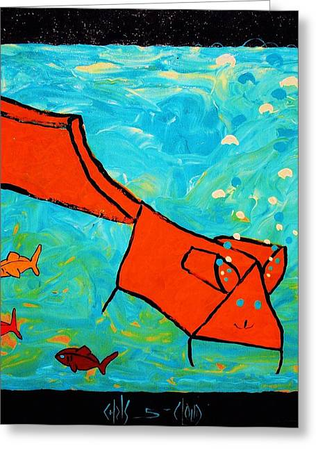 Award Winning Art Greeting Cards - Omaley in the Aquarium Greeting Card by Chris Cloud