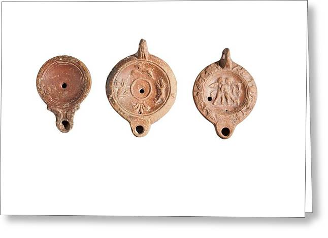 Oman Era Terracotta Oil Lamps Greeting Card by Science Photo Library