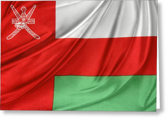 Shiny Fabric Greeting Cards - Oman flag Greeting Card by Les Cunliffe