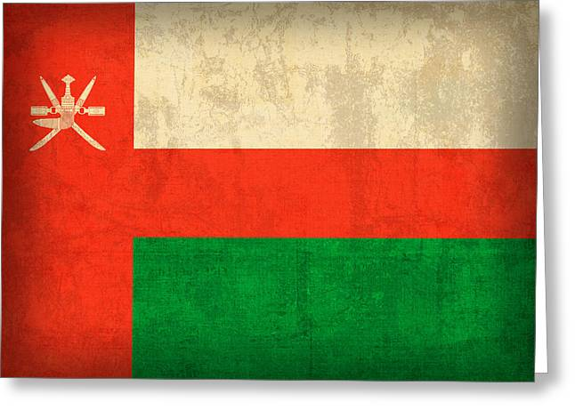 National Symbol Greeting Cards - Oman Flag Vintage Distressed Finish Greeting Card by Design Turnpike