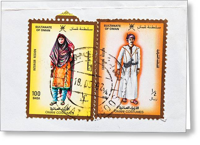 Envelop Greeting Cards - Omani stamps Greeting Card by Tom Gowanlock