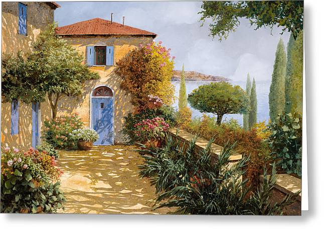 Shadows Greeting Cards - Ombre Sul Terrazzo Greeting Card by Guido Borelli