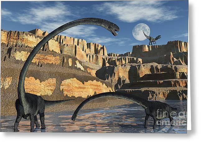Stream Digital Art Greeting Cards - Omeisaurus Dinosaurs Being Stalked Greeting Card by Mark Stevenson