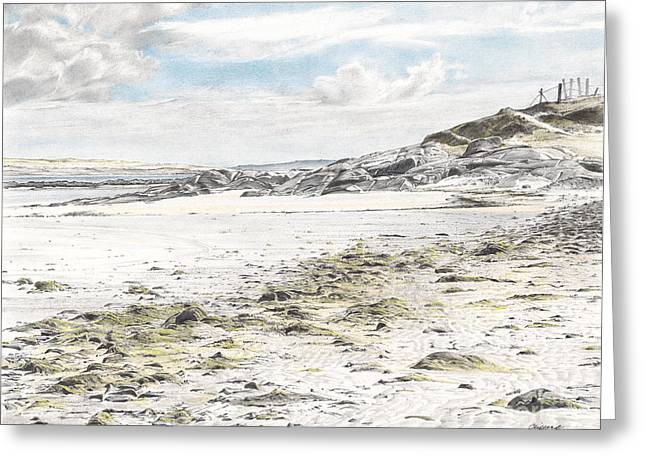 Seacape Drawings Greeting Cards - Omey Island Greeting Card by Renee Clifford