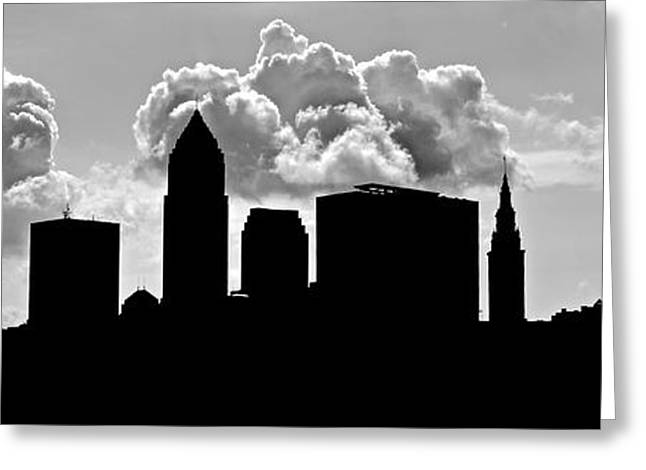Progressive Field Greeting Cards - Ominous Cleveland Silhouette Greeting Card by Frozen in Time Fine Art Photography