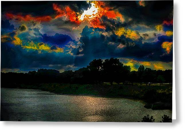 Unique Art Greeting Cards - Ominous Colorfest Greeting Card by Ron Fleishman