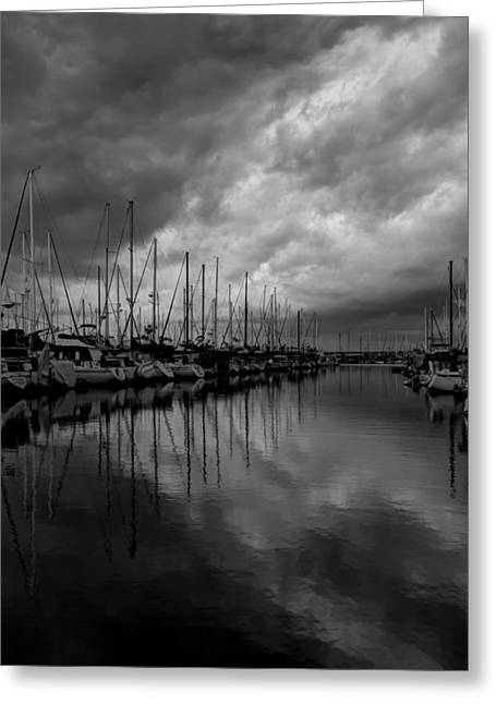Docked Boat Greeting Cards - Ominous Sky Greeting Card by Heidi Smith