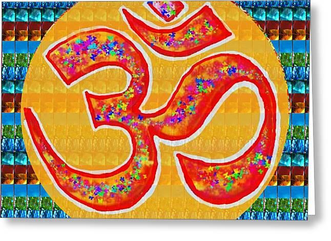 Marathon Champion Greeting Cards - OmMantra OM Mantra Chant Yoga Meditation Spiritual Religion Sound  NavinJoshi  Rights Managed Images Greeting Card by Navin Joshi