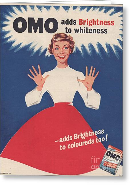 Twentieth Century Greeting Cards - Omo 1950s Uk Washing Powder Housewives Greeting Card by The Advertising Archives