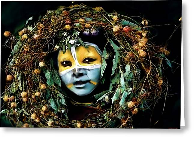 Africa Festival Greeting Cards - Omo Valley Man with Wreath Greeting Card by Jann Paxton