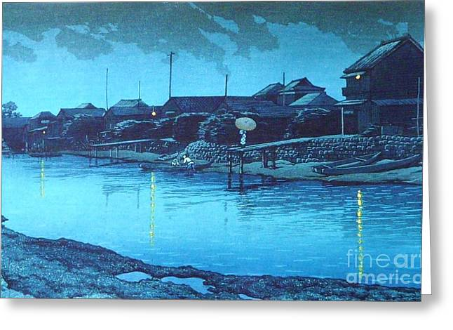 Omori Beach At Night Greeting Card by Pg Reproductions