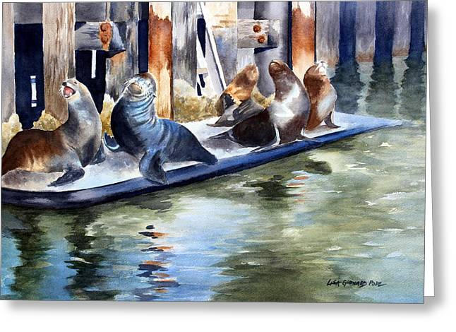California Sea Lions Paintings Greeting Cards - On a California Pier Greeting Card by Lisa Pope