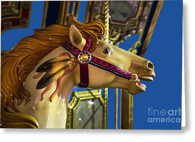 Amusements Greeting Cards - On A Carousel Greeting Card by Al Bourassa