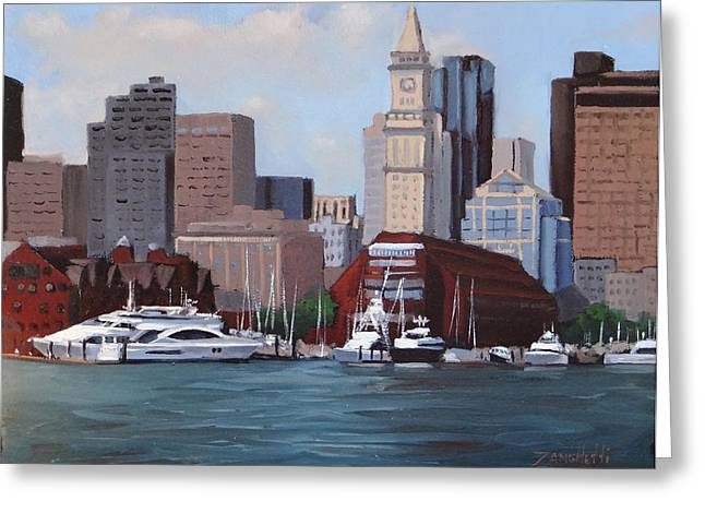 Boston Harbor Greeting Cards - On a Clear Day Greeting Card by Laura Lee Zanghetti