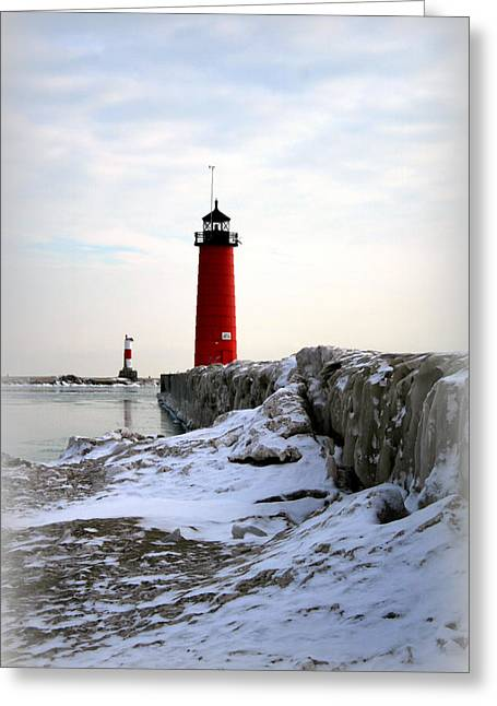 On A Cold Winter's Morning Greeting Card by Kay Novy