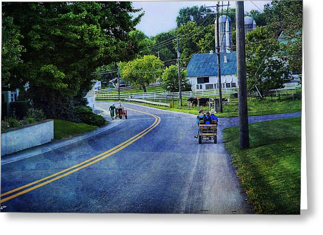 On A Country Road - Lancaster - Pennsylvania Greeting Card by Madeline Ellis