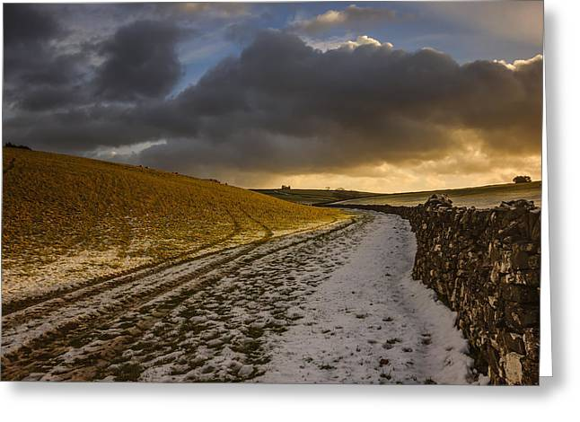 Snow On Barn Greeting Cards - On a country walk at sunset Greeting Card by Chris Fletcher