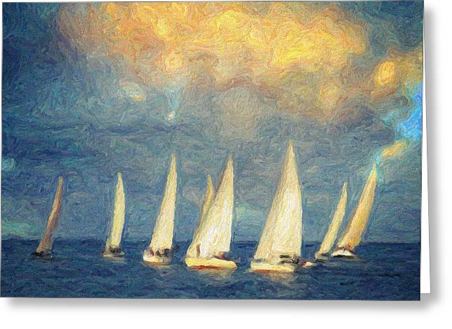 Yellow Sailboats Greeting Cards - On a day like today  Greeting Card by Taylan Soyturk