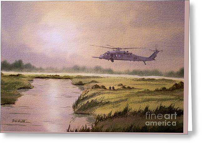 Airforce Paintings Greeting Cards - On A Mission - HH60G Helicopter Greeting Card by Bill Holkham