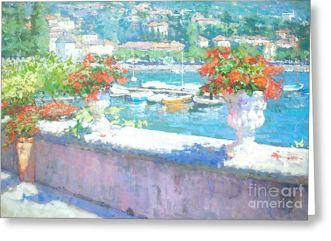 Lake Como Paintings Greeting Cards - On A Morning in August Greeting Card by Jerry Fresia