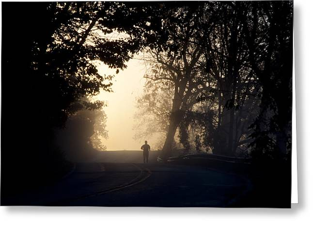 Jogger Greeting Cards - On A Morning Jog Greeting Card by Bill Cannon