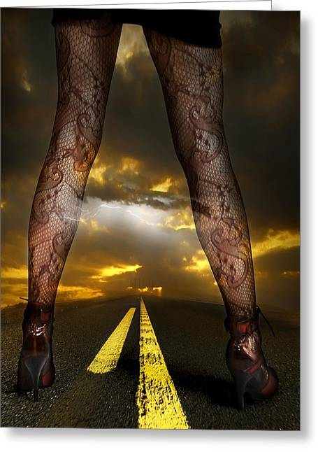 Legs Up Greeting Cards - On a Road Greeting Card by Svetlana Sewell