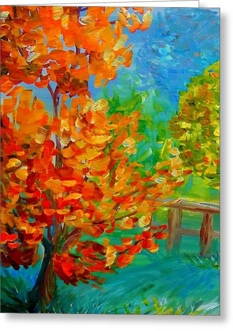 Whimsical Greeting Cards - On a Windy Autumn Day Greeting Card by Eloise Schneider