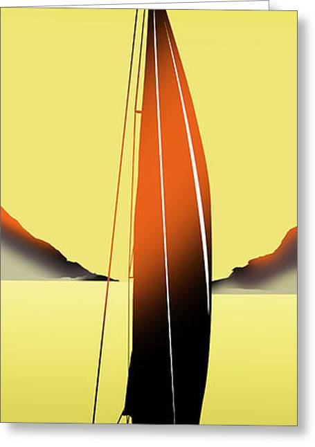 Yellow Sailboats Greeting Cards - On A Yellow Sea Greeting Card by Peter Stevenson