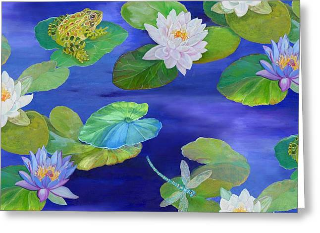Recently Sold -  - Flying Frog Greeting Cards - On Big Fresh Pond Greeting Card by Kimberly McSparran