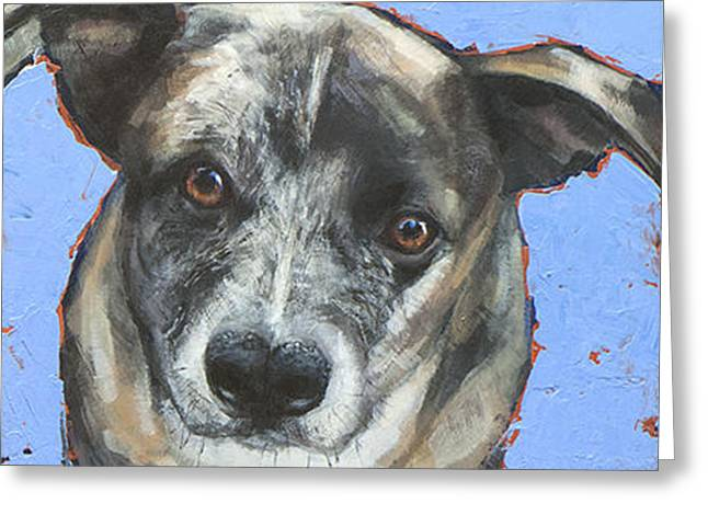 Cattle Dog Paintings Greeting Cards - On Blue Greeting Card by Mary Medrano