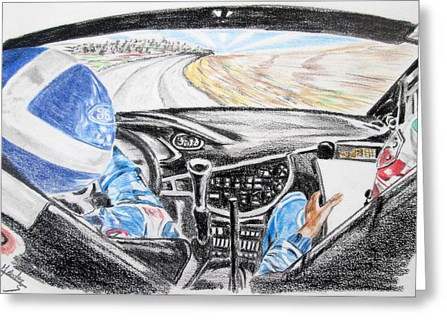 Wrc Greeting Cards - On board Colin Mcrae Greeting Card by Juan Mendez