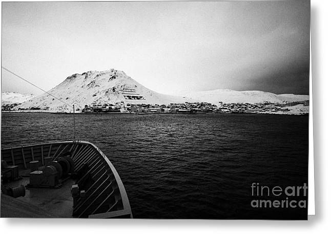 Honningsvag Greeting Cards - on board ship approaching Honningsvag finnmark norway europe Greeting Card by Joe Fox
