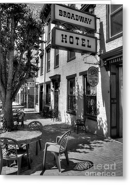 Indiana Art Greeting Cards - On Broadway BW Greeting Card by Mel Steinhauer