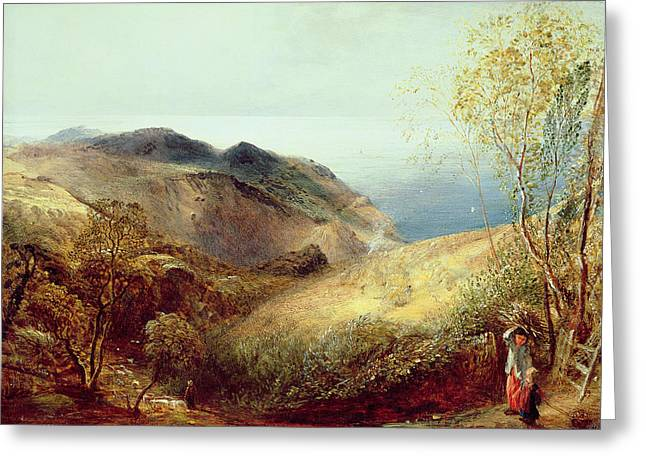 Hay Bales Greeting Cards - On Chalden Down, Dorset, C.1834-35 Greeting Card by Samuel Palmer