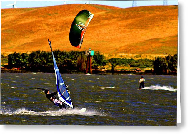 Wind Surfing Art Greeting Cards - On Course Greeting Card by Joseph Coulombe