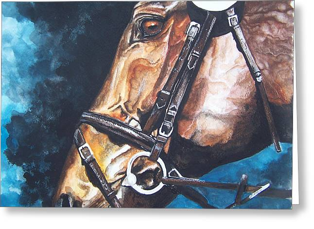 Watercolor. Equine. Bridle Greeting Cards - On Course Greeting Card by Kathy Laughlin