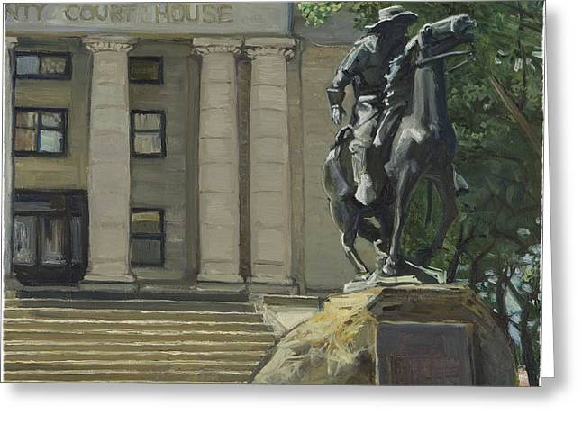 On Courthouse Square Greeting Card by Paul VerBurg