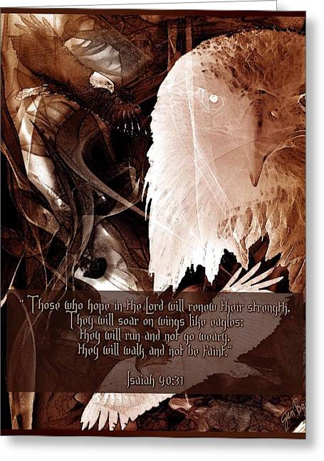 Illustrated Scripture Greeting Cards - On Eagles Wings Greeting Card by Jennifer Page