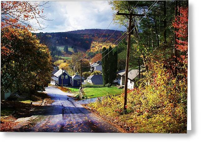 Olson House Greeting Cards - On Elm Street Looking Towards Spruce Mountain Greeting Card by Joy Nichols