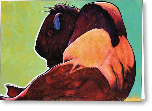 The American Buffalo Paintings Greeting Cards - On Empty Bison Greeting Card by Joe  Triano