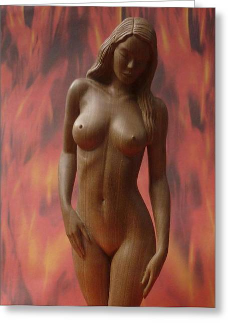 Nude Sculptures Greeting Cards - On Fire - Sculpture of Nude Woman Greeting Card by Carlos Baez Barrueto
