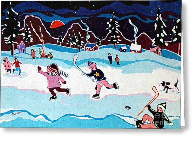 Hockey Paintings Greeting Cards - On Frozen Pond Greeting Card by Joyce Gebauer