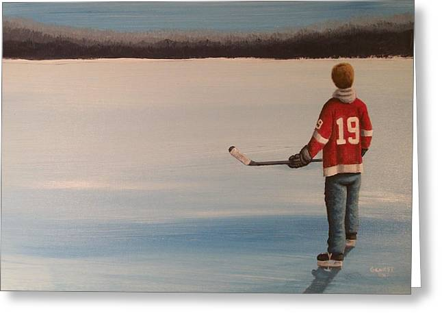 Youth Hockey Paintings Greeting Cards - On Frozen Pond -  Stevie Greeting Card by Ron  Genest