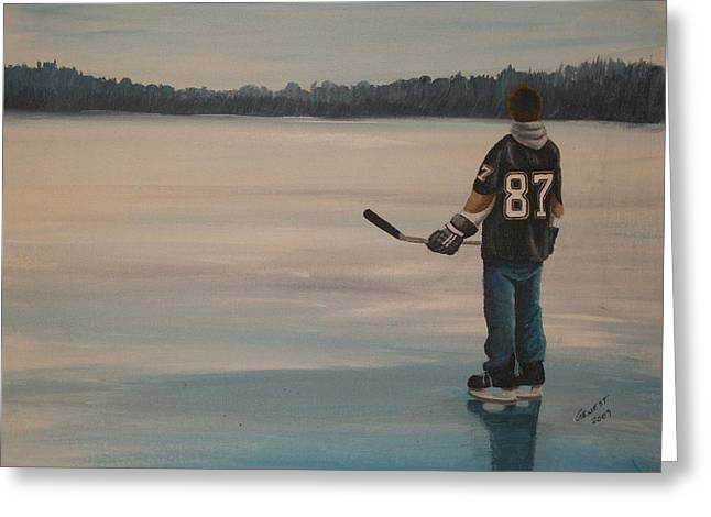 Youth Hockey Paintings Greeting Cards - On frozen Pond - The Kid Greeting Card by Ron  Genest