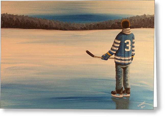 Youth Hockey Paintings Greeting Cards - On Frozen Pond -  Winter Classic 2014 Greeting Card by Ron  Genest